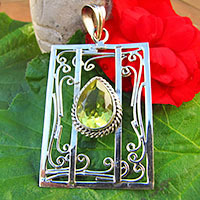 Pendant with Citrine - artful floral Silver Design