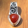 Delicate decorated Carnelian Pendant - Jewelry 925 Silver