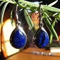 Earrings with Lapis Lazuli - Indian Silver Jewelry