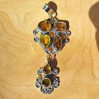 Citrine Pendant - magnificent Design 925 Silver from India