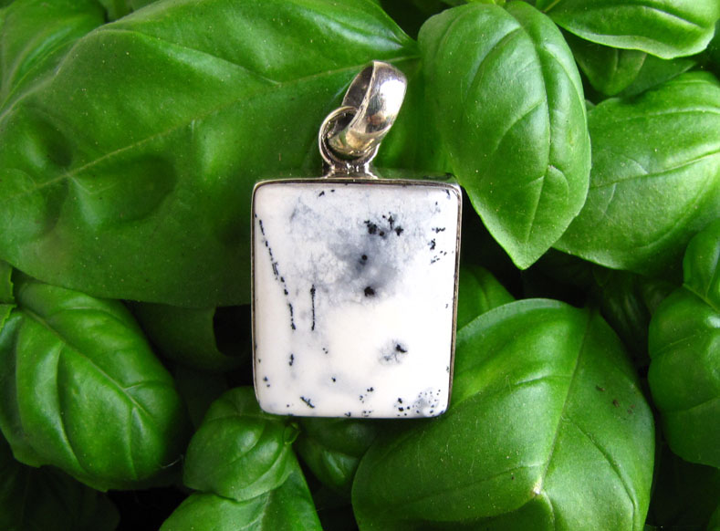 Indian 925 Silver Pendant Dendritic Opal