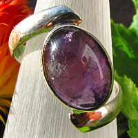 Amethyst Ring in modern Design - Indian 925 Silver Jewelry