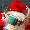 Noble Indian 925 Silver Bracelet with bright Turquoise