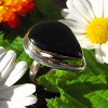 Indian Ring with Onyx drop-shaped - Silver Jewelry -70%