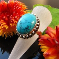Tasteful Turquoise Ethnic Ring 925 Silver - Indian Jewelry