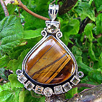 Pendant Tiger's-eye with Citrine - Indian Silver Jewelry