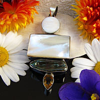 Elegant Pendant Mother of Pearl and Citrine 925 Silver -50%