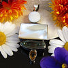 Elegant Indian Silver Pendant with Mother of Pearl - 'Jaipur/13'