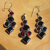 Indian Garnet Silver Jewelry Set - Pendant and Earrings