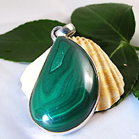 Indian Silver Jewelry Pendant Malachite drop/7