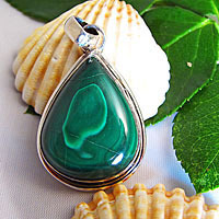 Indian 925 Silver Pendant Malachite drop shape/11 -70%