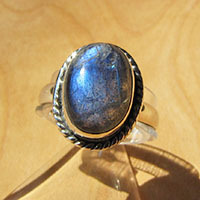 Charming Indian Labradorite Ring adorned 925 Silver cord
