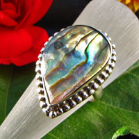 Curved Ring Mother of Pearl adorned - 925 Silver Jewelry -50%
