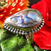 Mother of Pearl Ring adorned 925 Silver - Indian Jewelry -50%