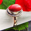 Red Coral Ring decorated - Indian Silver Jewelry
