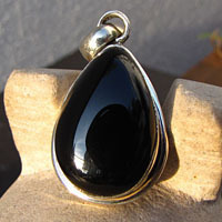 Indian Silver Jewelry Pendant with drop-shaped Onyx /4 -70%