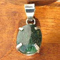 Pendant with Moldavite oval smooth cut Silver Setting
