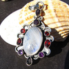 Indian Silver Pendant with Moonstone, Garnet and Amethyst