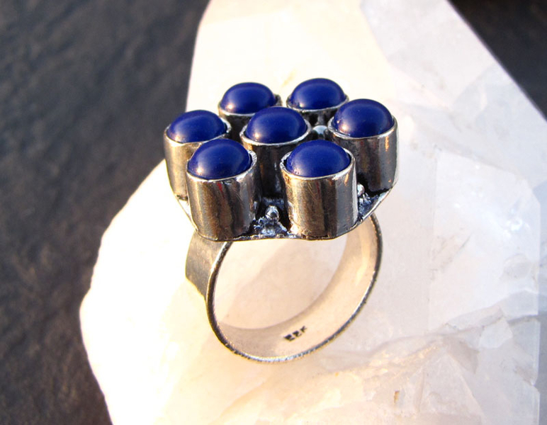Indian Silver Ring with Lapis Lazuli /3-3 -70% discount