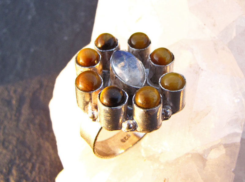 Indian Silver Ring Tiger's-eye and Moonstone /2-1 -70% discount