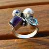 Indian 925 Silver Ring with Amethyst, Blue Topaz, Pearl