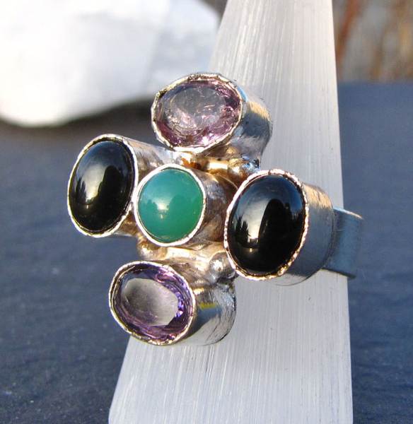 Indian Jewelry 925 Silver Ring Amethyst Jade Onyx /9-1 -70%