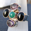 Indian Silver Ring with Amethyst, Jade, Onyx -70%