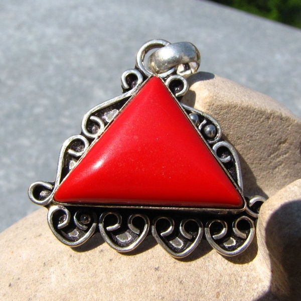 Indian Silver Pendant with Red Coral /2 -70% discount