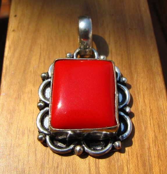 Indian Silver Pendant with Red Coral /4 -70% discount