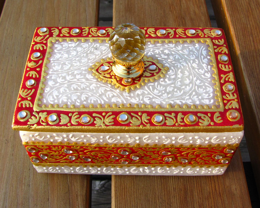 Indian Marble Casket Kundan Art - Luxury Jewelry Case