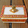 Indian Marble Jewelry Casket Kundan Art Crystal Knob