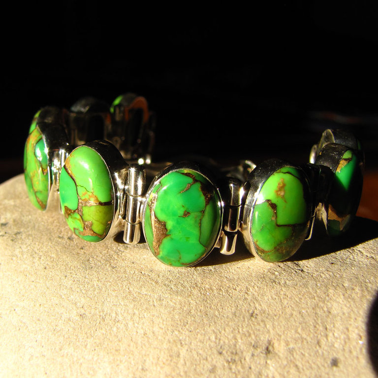 Silver Bracelet Jewelry with Sea Jasper green Variscite - 'Goa/35'