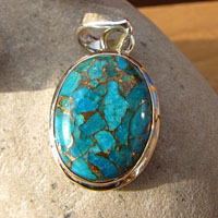 Indian Sea Jasper blue oval 925 Silver Jewelry Pendant /2-1