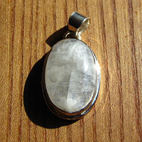 Indian Moonstone Silver Jewelry Pendant oval /18