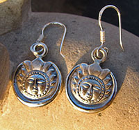 Indian Ethnic Jewelry 925 Silver Earrings with Sun