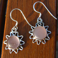 Earrings Rose Quartz in sun-shaped ornament - Silver Jewelry