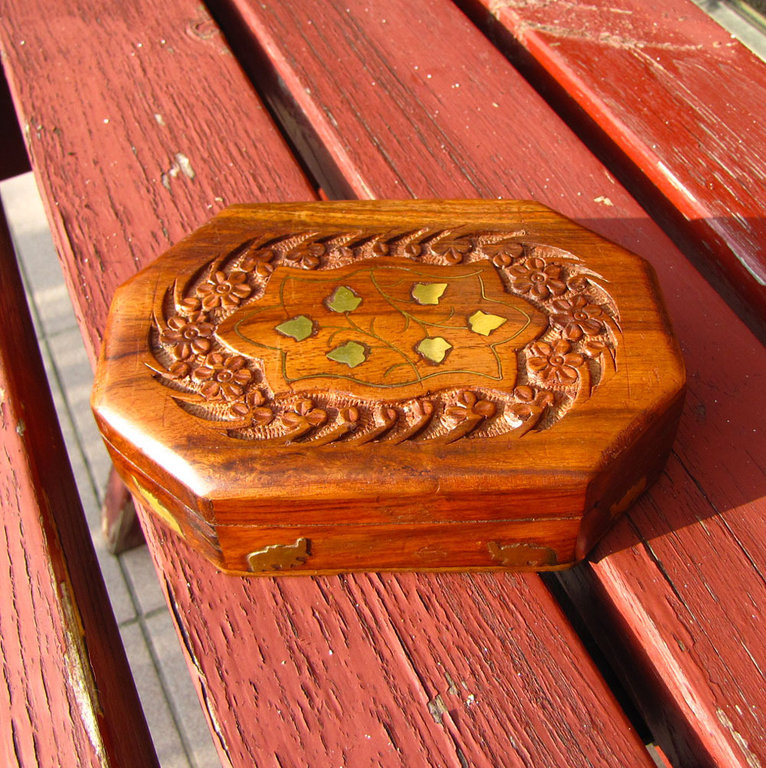 Octagonal Sheesham wood Jewelry Casket with Carvings and Brass /3-3