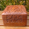 Square jewelry casket Sheesham wood with carving /4