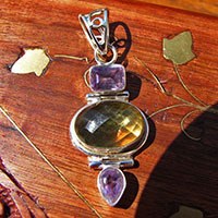 Indian Silver Jewelry Pendant - Citrine and Amethyst