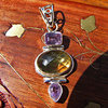 Fine Indian Silver Jewelry Pendant - Citrine and Amethyst