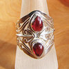 Indian Rings Jewelry - noble Silver Ornament with Garnet