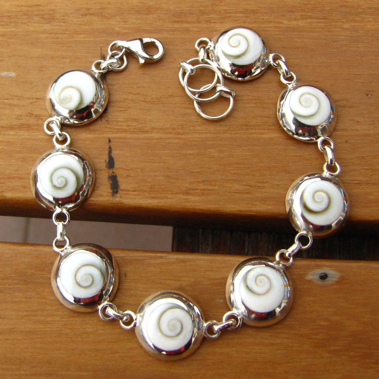 Shiva Shell Bracelet in 925 Silver - Indian Jewelry