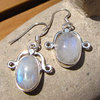 Indian Moonstone Earrings Jewelry - fine Silver Adornment