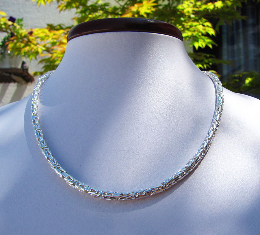Round King's Chain Necklace Ø 6 mm 925 Sterling Silver /3-2