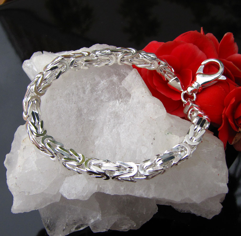 Indian King's Chain Bracelet 3.5x3.5mm 925 Sterling Silver