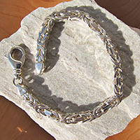 Indian King's Chain Bracelet 5x5mm high-gloss 925 Silver
