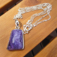 Indian Charoite Pendant with 925 Silver Figaro Chain