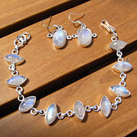 Moonstone Jewelry Set Silver - Earrings, Bracelet