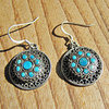 Round Earrings with Turquoise - Indian Silver Ethnic Jewelry