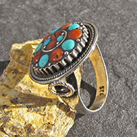 Indian Ethnic 925 Silver Ring round with Turquoise and Red Coral